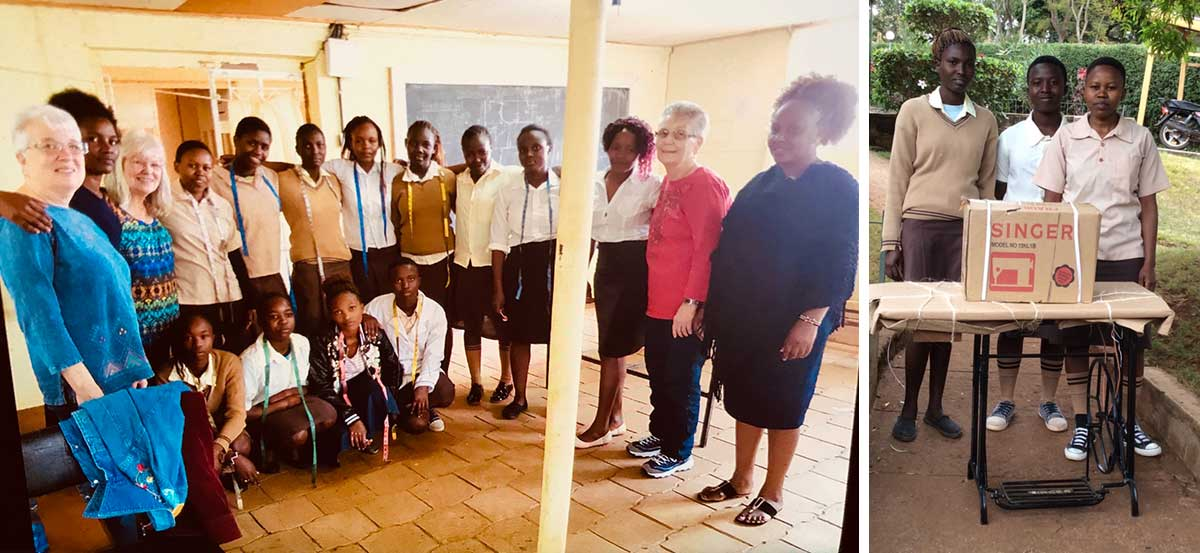 Tailoring students, teachers and tailoring graduates receiving sewing machines