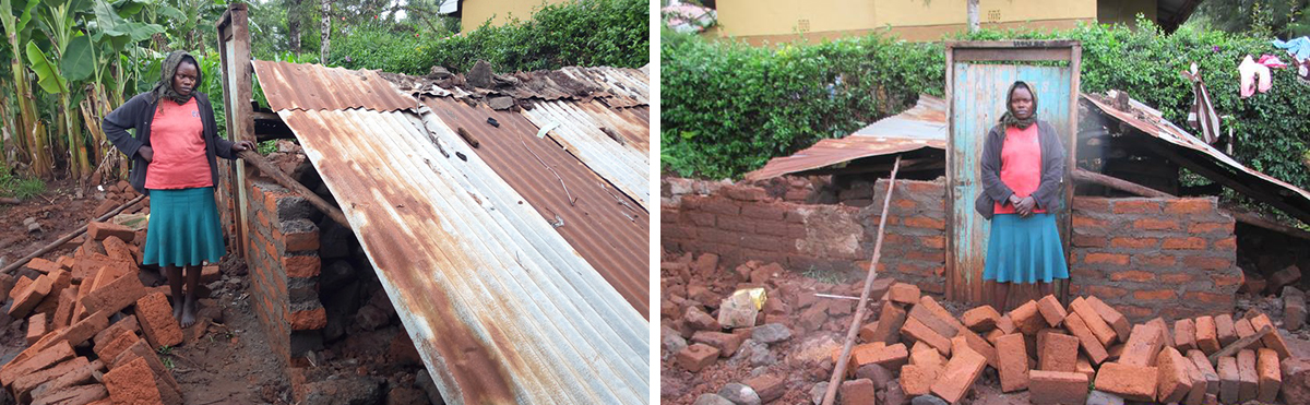 Eunice's collapsed house