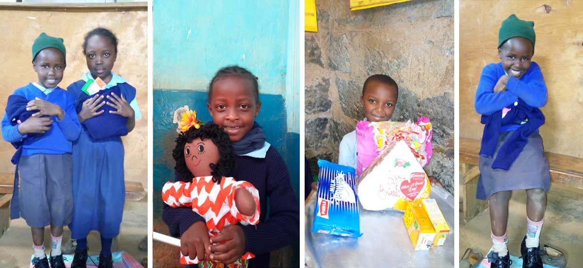 Getting new uniforms with great delight. The children will wear these for several years. Dolls were made by our donors. They bring much comfort as kids seldom have anything of their own let alone something they can hug.